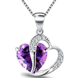 Open Heart Necklace Cubic Zircon Simulated Amethyst Pendant 925 Sterling Silver