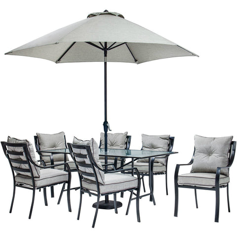 Outdoor 7pc Dining Set w/ Umbrella