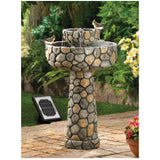 Outdoor Solar Powered Cobblestone Wishing Well Water Fountain