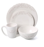 White Dinnerware Set Dishes Dinner 16 Piece Kitchen Bowls Plates Mugs Service 4
