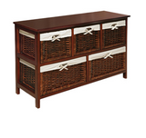 Wicker Storage Chest Baskets Organizer Furniture Wood Cabinet Table Drawer Bin