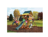 Wooden Swing Set Kids Playground Slide Outdoor Backyard Fort Playset Swingset