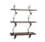 Wooden Wall Shelves Decor Shelf Metal Display Storage Mount Contemporary Room