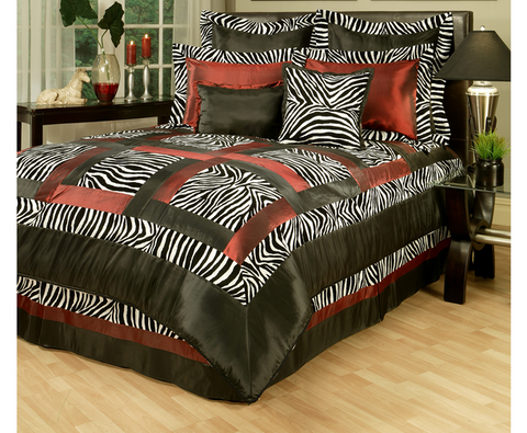 8 Piece Zebra Comforter Set