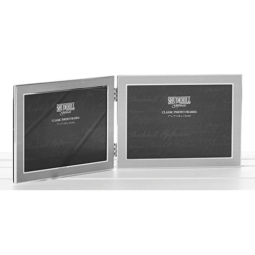 Silver Plated Promo Hinged Double 6x4 Promo Frame - Landscape Only