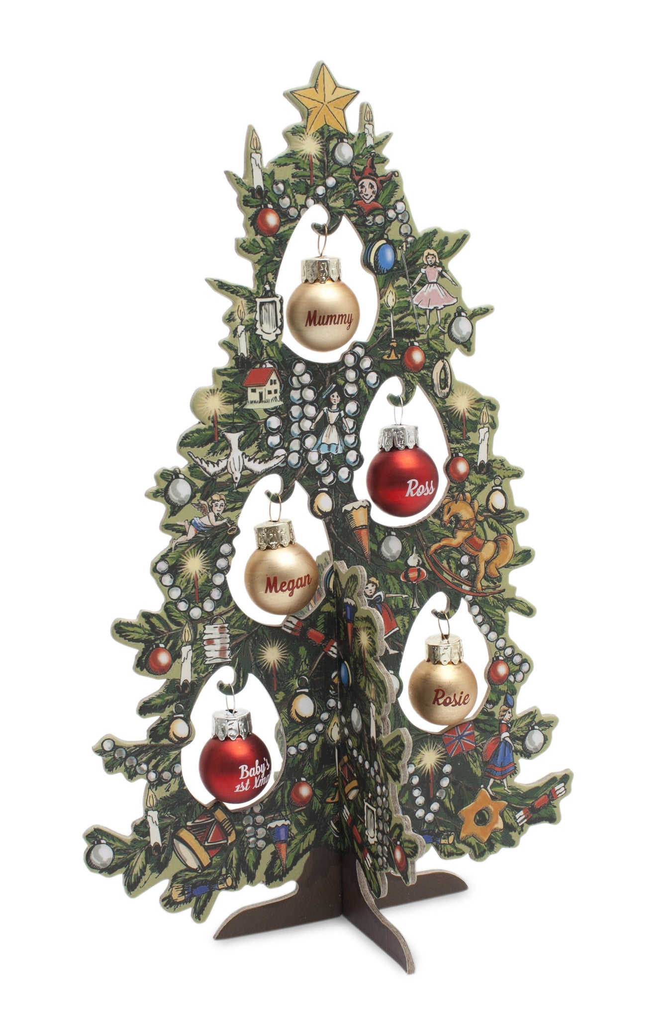 hh christmas family tree printed style - Miniature Christmas Decorations Uk