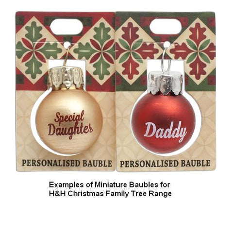 hh christmas family tree miniature bauble blank gold - Miniature Christmas Decorations Uk