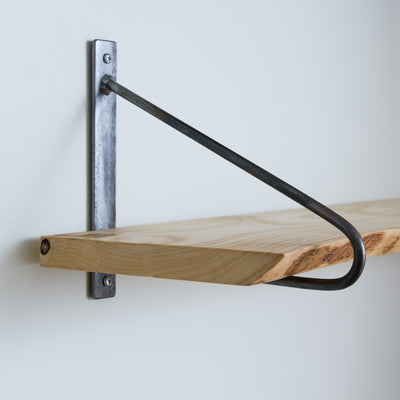 Ash Live Edge Shelf - Natural Steel Bracket