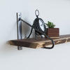 Walnut Live Edge Shelf - Natural Steel Bracket