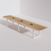 Trapezoidal Base Conference Table (14ft) - Live Edge