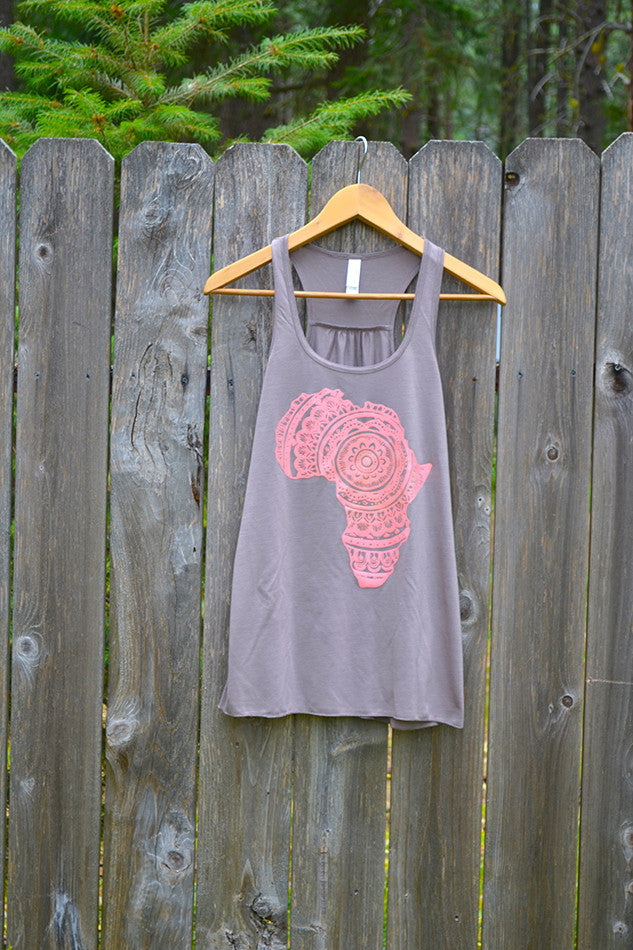 Peony-on-Pebble Yoga Racerback Tank