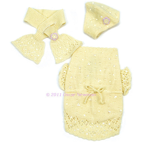 Buttercup Baby Sweater (with beanies & scarf)