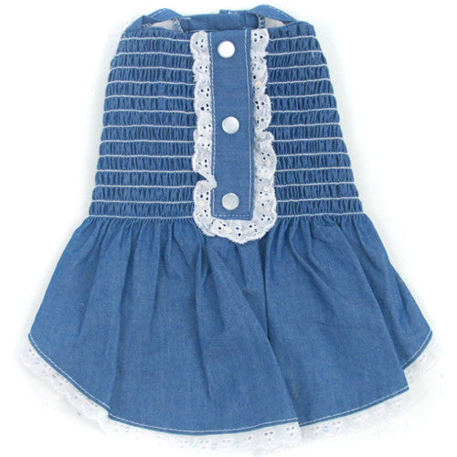 Light Up My Sky Chambray Smocked Dress
