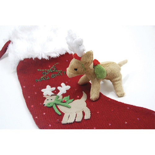 Naughty or Nice Christmas Stocking w/Reindeer Toy