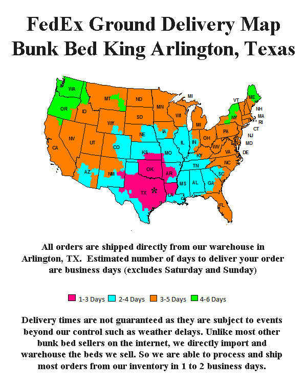 FedEx Delivery Map for Bunk Bed King