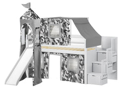 Castle Twin Low Loft Gray Stairway Bed with a Gray Camo Tent with a Slide for only $665