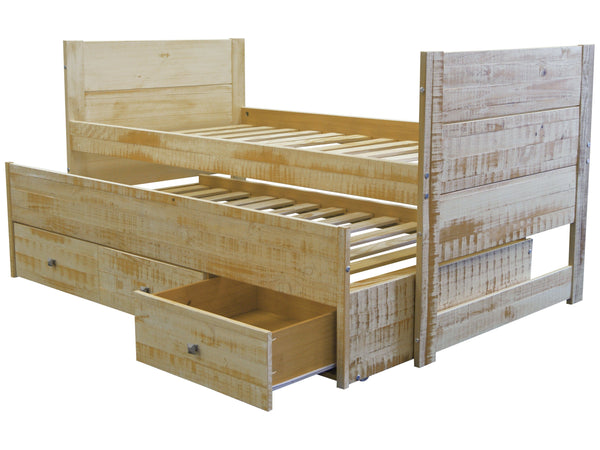 All In One Twin Bed In Rustic Honey 3 Drawers And