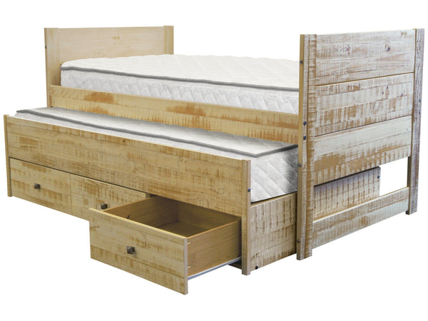 All In One Twin Bed In Weathered Honey 3 Drawers Trundle 349