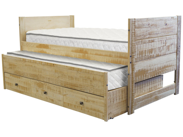 All in one twin bed in rustic honey 3 drawers and - All in one double bed ...