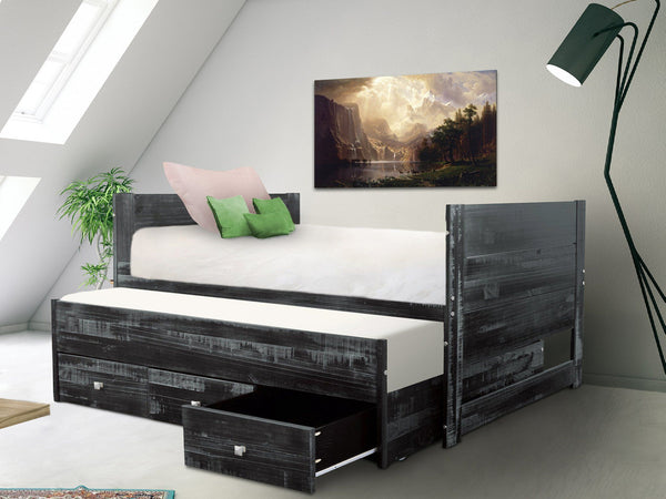 All In One Twin Bed In Weathered Black 3 Drawers Trundle 349