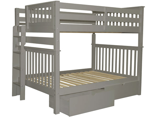 Full over Full Bunk Bed Gray with End Ladder and Drawers