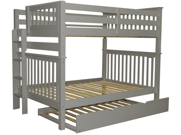 Full over Full Bunk Bed Gray with End Ladder and Trundle