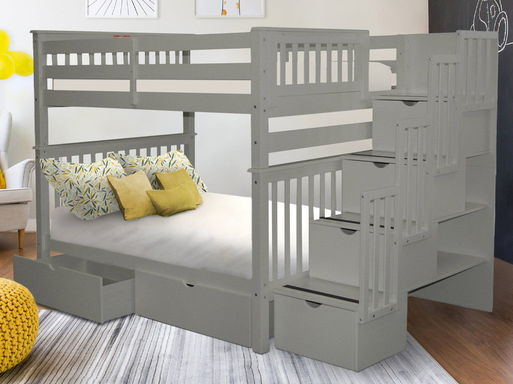 Bunk Beds Full Over Full Stairway Gray 2 Drawers 1219