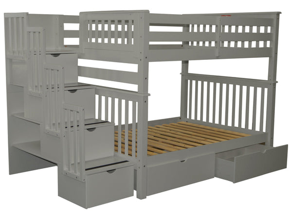 Stairway Full over Full Bunk Bed Gray with Drawers
