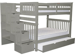 Bunk Bed Full over Full Stairway Gray with Full Trundle for only $1185