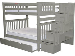 Bunk Bed Full over Full Stairway Gray with Full Trundle for only $1199