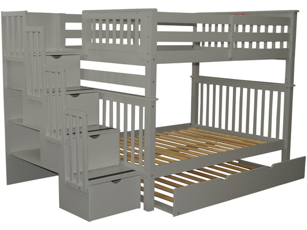 Stairway Full over Full Bunk Bed Gray with Trundle