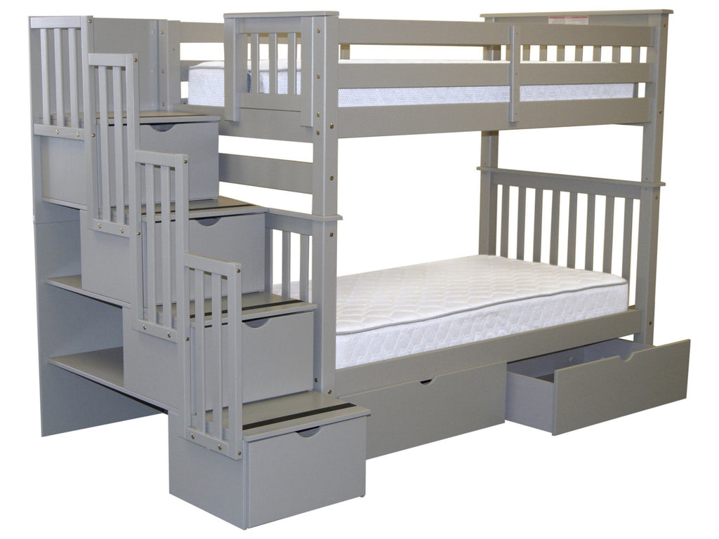 Bunk Beds Tall Twin Stairway Gray 2 Drawers 849