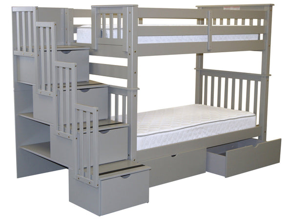Bunk Bed Tall Twin over Twin Stairway Gray with Drawers for only $835