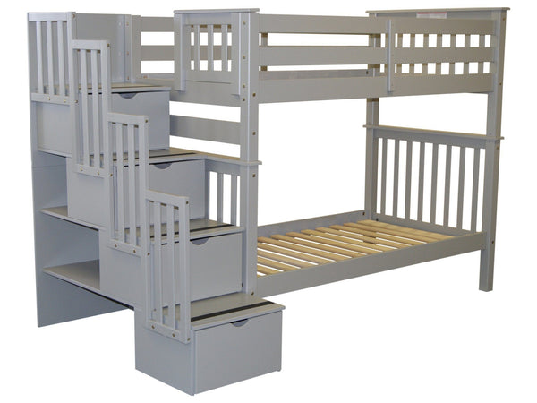 Stairway Tall Twin over Twin Bunk Bed Gray