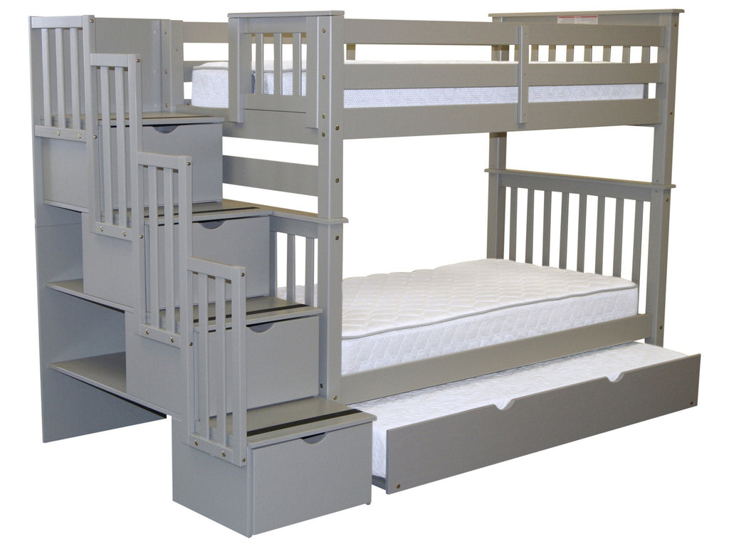 Bunk Beds Tall Twin Stairway Gray Twin Trundle 849