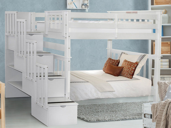 Bunk Beds Tall Twin Stairway White 749 Bunk Bed King