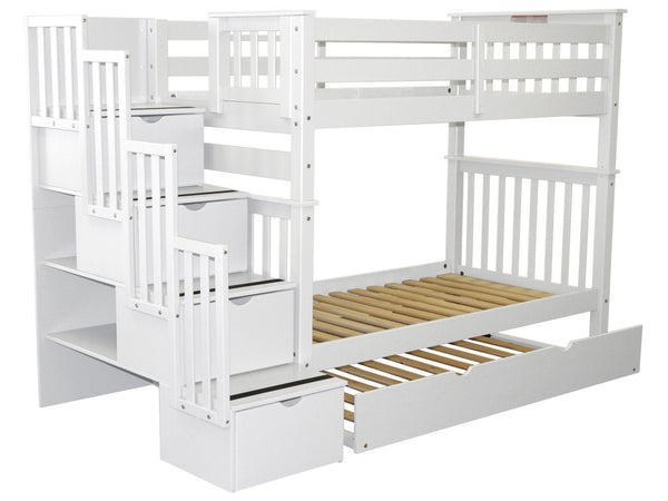 Bunk Beds Tall Twin Stairway White Twin Trundle 849