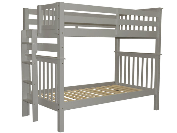Tall Twin over Twin Bunk Gray with End Ladder