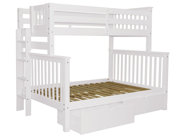 Twin over Full Bunk Bed White with End Ladder and Drawers