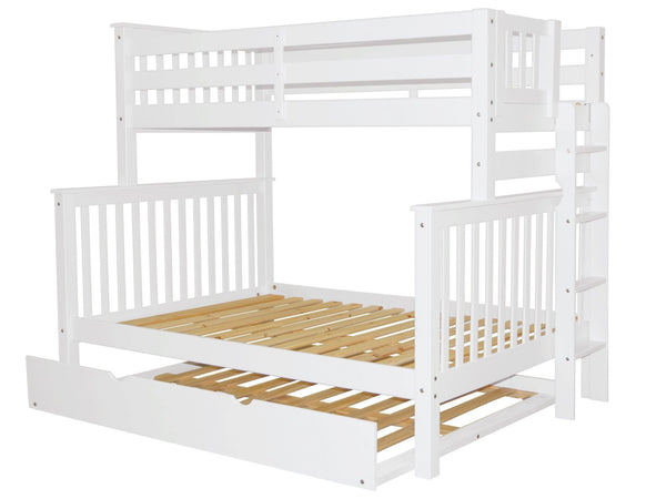 Bunk Beds Twin Full End Ladder White Full Trundle 665