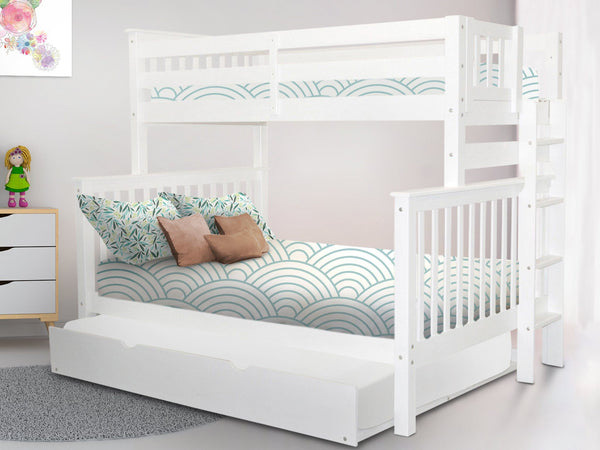 Bunk Beds Twin Full End Ladder White Full Trundle 696
