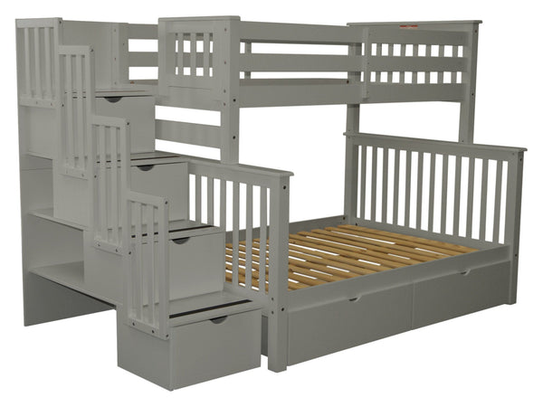 Stairway Twin over Full Bunk Bed Gray with Drawers