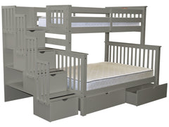 Bunk Beds Twin over Full Stairway Gray with Drawers for only $979