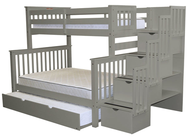 bunk beds twin over full stairway gray full trundle 1029. Black Bedroom Furniture Sets. Home Design Ideas