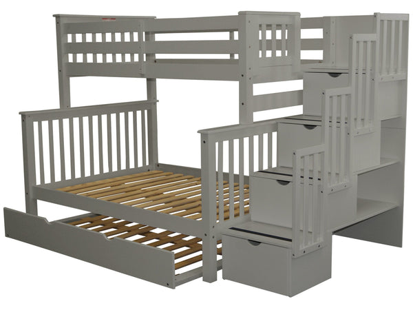 Stairway Twin over Full Bunk Bed Gray with Full Trundle