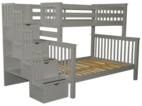 Stairway Twin over Full Bunk Bed Gray