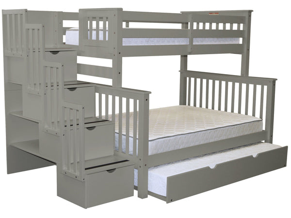 Bunk Beds Twin Over Full Stairway Gray Trundle 979