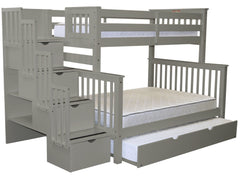 Bunk Beds Twin over Full Stairway Gray with Trundle for only $979