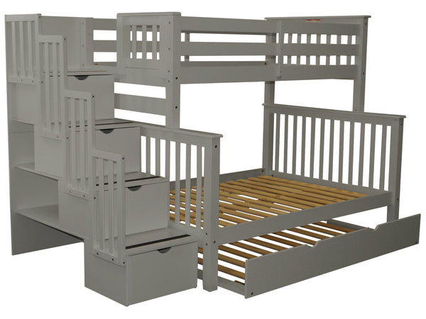 Stairway Twin over Full Bunk Bed Gray with Trundle