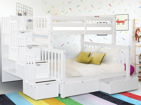 Bunk Beds Twin Over Full Stairway White 2 Drawers 998